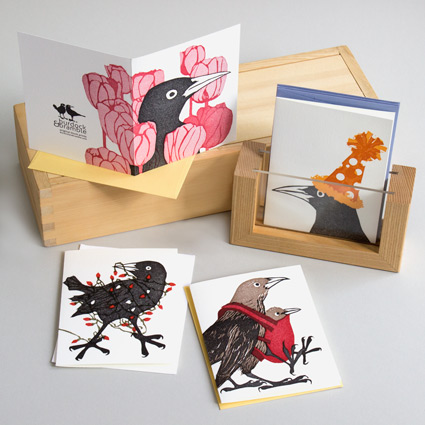 Our grackle block print greeting cards celebrate every holiday and occasion with a touch of humor.