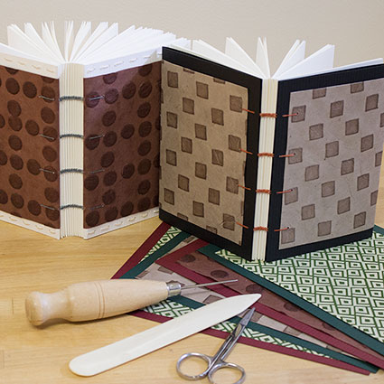 photo of coptic stitch binding with paper covers