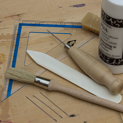 photo of bookbinding tools